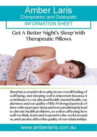 Amber Laris, Adelaide—Get a Good Night's Sleep With Therapeutic Pillows. Adelaide Copywriting by Cadogan and Hall.
