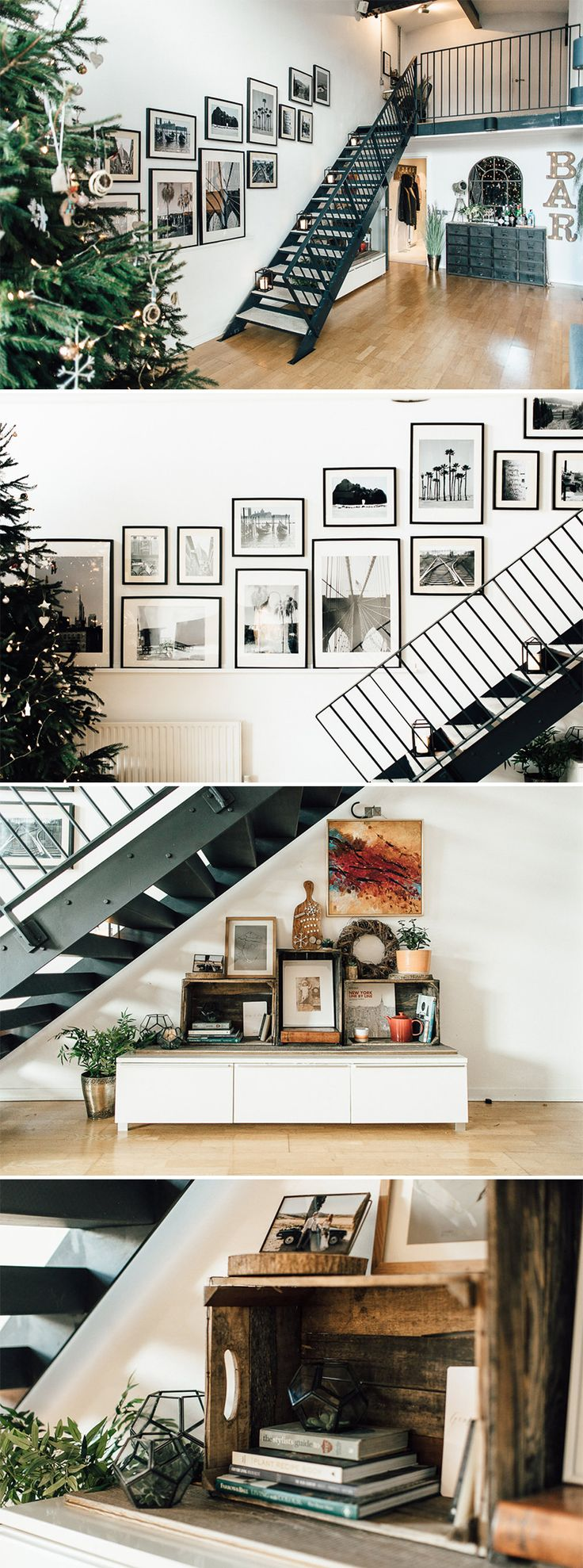 modern industrial open plan living | Open staircase | loft style apartment | loft style apartment inspiration | Gallery wall | Stair gallery wall | Under stairs styling | black and white gallery wall
