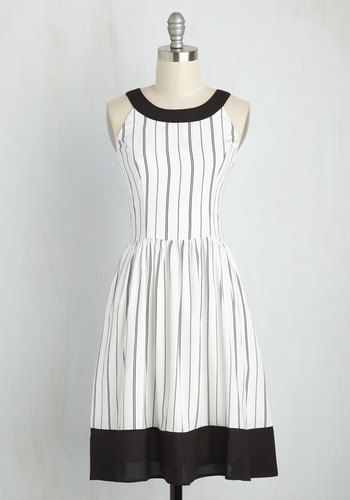 Day In and Date Out Dress in Stripes. For an in-house dance party or outdoor adventure with your sweetie, this white dress is the ideal ensemble! #white #modcloth