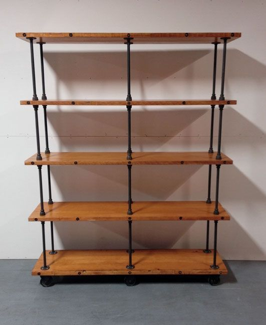 Industrial Style Steel Pipe Pine Wood Tables Desks A: $1300 Custom Made Industrial Iron Pipe Storage Shelf. In