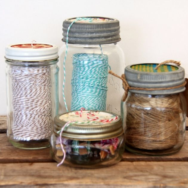 Use old mason jars for string dispensers!~this would be great for those you can no longer use for canning (the ones with a knick or crack on the rim!)