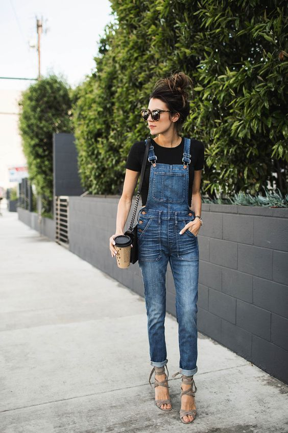 overalls and plain black shirt