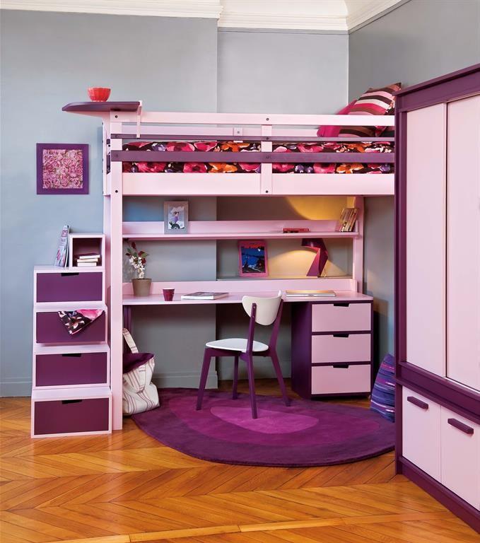 Des rangements dans tous les coins lit mezzanine armoire escalier aux rangements int gr s for Photo lit mezzanine