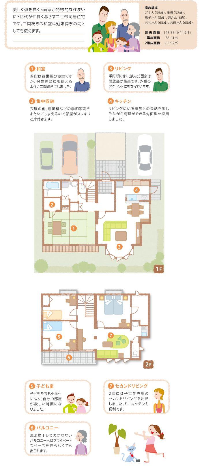 間取り図:開放的なリビングと和室二間続きのある二世帯住宅
