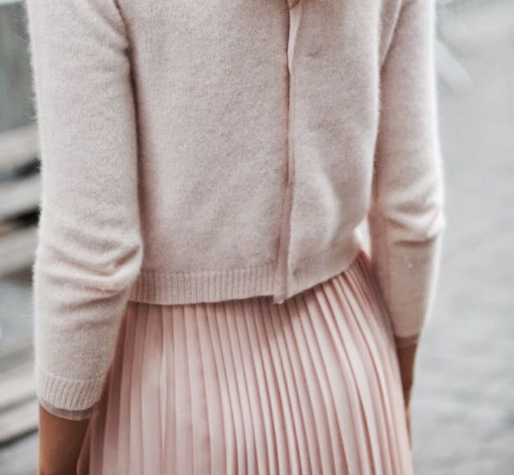 button back, cashmere cardigan and (pleated) skirt. Plus, that lovely pale pink would be so flattering on mine (and probably many other) skin tones!