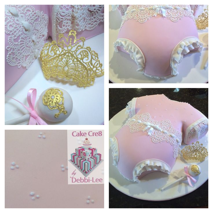 Details on the baby onesie fir for a little princess including 'tiara' made from edible lace