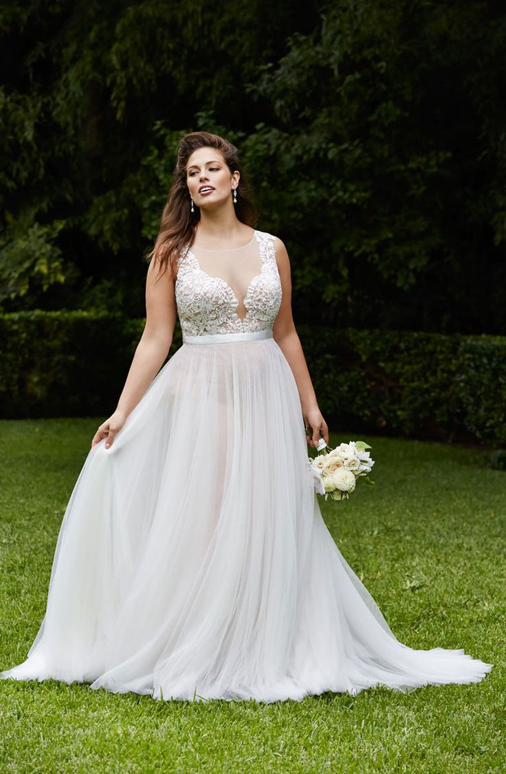WTOO Curves plus size beach wedding dress with illusion neckline and flowy skirt