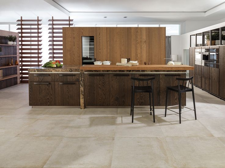 Ceramic floor tiles that give an easy-care take on the concrete look - perfect for industrial kitchens. Ston-Ker range by Porcelanosa. http://www.porcelanosa.com/uk/STON-KER-ceramic-stone.php
