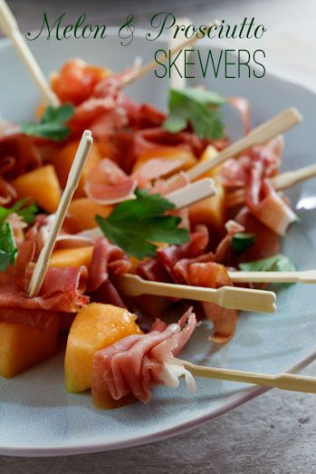 Melon & Prosciutto Skewers (I would probably use thin deli ham and maybe even add a little mozzarella cheese..)