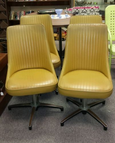 4 Vintage Retro Yellow Chromcraft Kitchen Dining Chairs