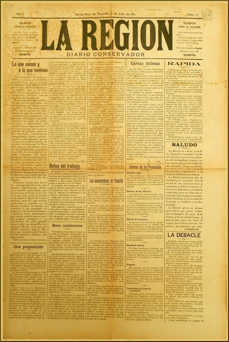 La REGIÓN : diario conservador. – Santa Cruz de Tenerife : [s.n.], 1911-1915 (Librería y Tipografía Católica)