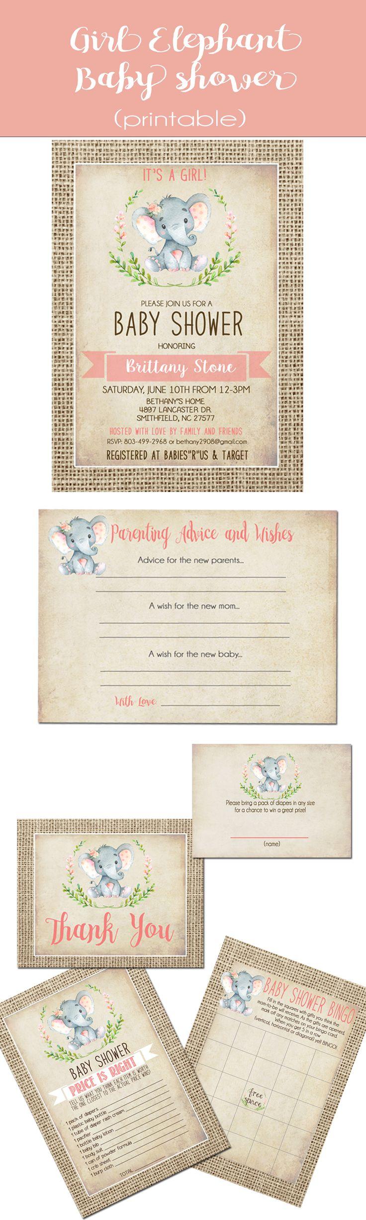 Printable girl baby shower elephant theme