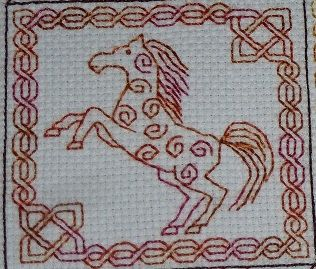 Celtic Horse Blackwork embroidery pattern. 3D ornament by Storm's Stitches