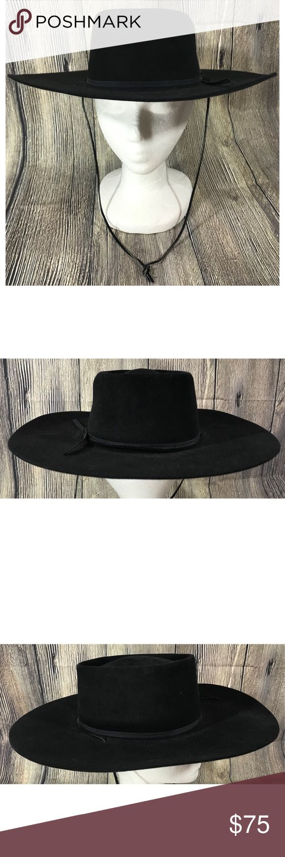 """Rodeo King Felt Long Oval 4X Low Beaver Cowboy Hat Rodeo King Black Felt Long Oval 4X Low Beaver Size 6 7/8 Wide 4"""" Brim Cowboy Hat. Pre owned in excellent condition, retails for $159. Genuine leather sweatband, two cord band, 4"""" brim, 3.5"""" low crown and 4X Low rodeo black felt. Rodeo King Accessories Hats"""