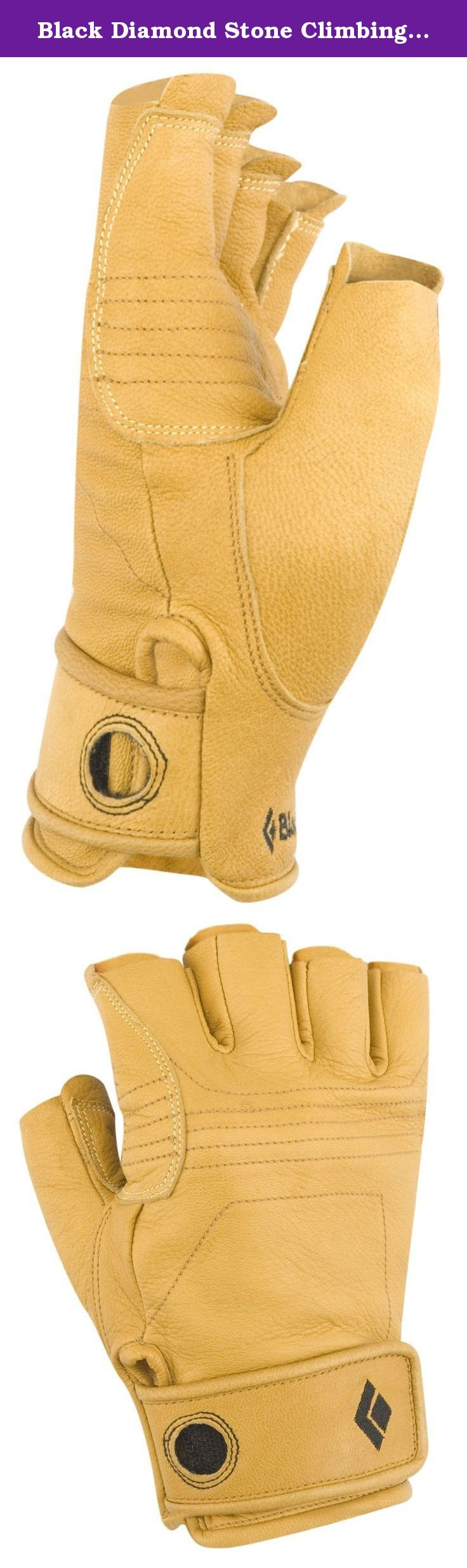 Black Diamond Stone Climbing Gloves, Natural, Medium. A 3/4-finger leather glove for dexterity-crucial climbing activities such as belaying, aid climbing and jugging. Imported.