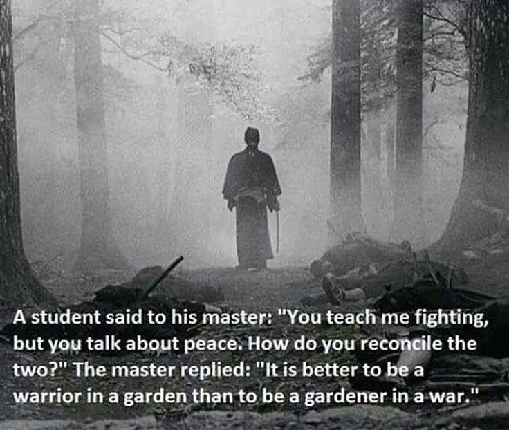 """It is better to be a warrior in a garden than a gardener in a war."""