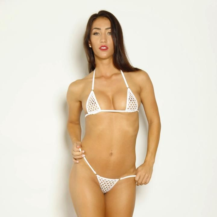722930b092f8 Bitsys Bikinis Scrunch Butt Bikini Three Piece - White Athletic Fishnet  with White String and Silver