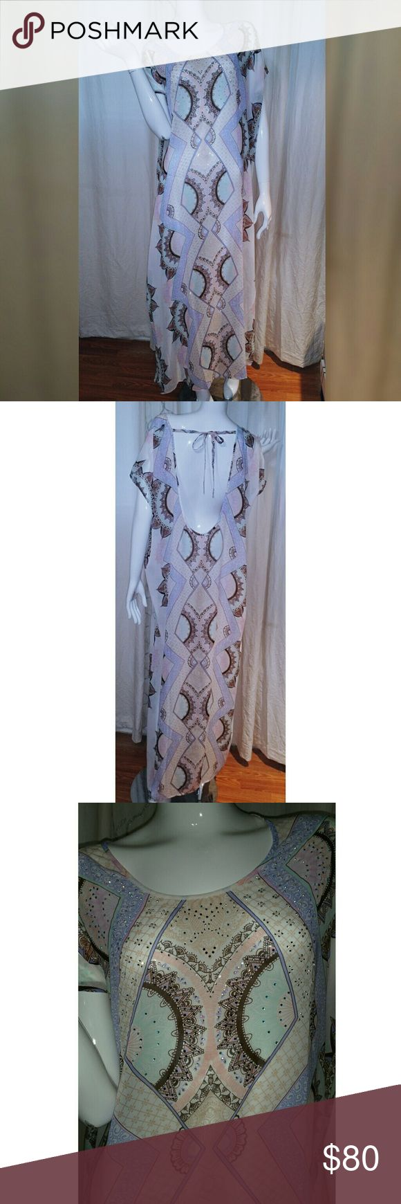 VS Beach Kaftan Coverup Light flowy kaftan coverup in a beautiful pastel print with scattered crystals neckline. It is a Small but anyone up to a size 8/10 can wear it comfortably. Victoria's Secret Swim