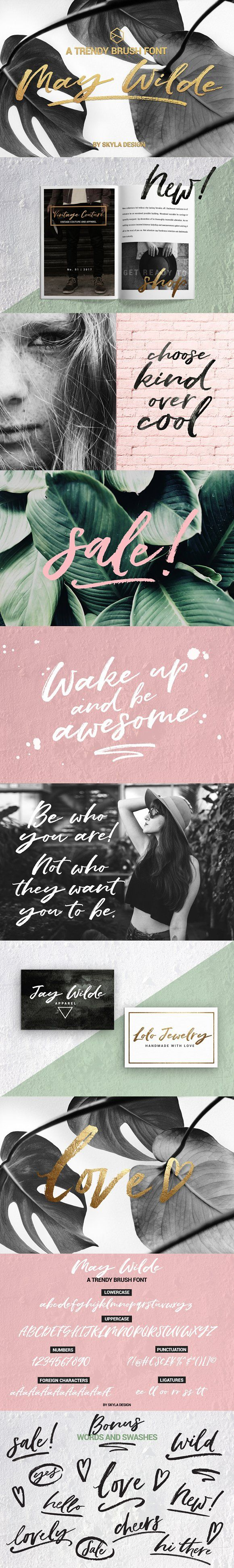 Trendy brush font, May Wilde by Skyla Design on @creativemarket