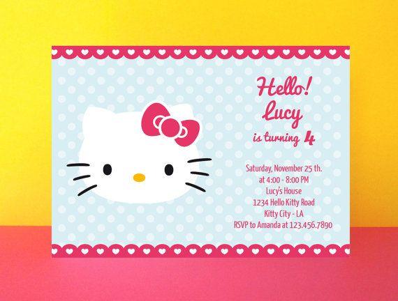 instant download - hello kitty invitation card