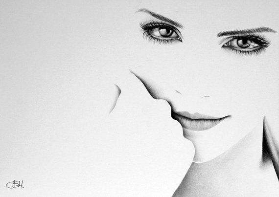 Emma Watson Harry Potter Minimalism Pencil Drawing Fine Art Portrait Print.