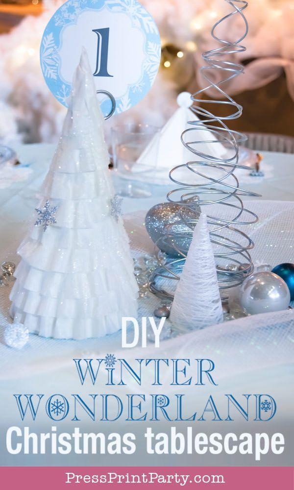 Diy Christmas Table Decor Blue Silver Winter Wonderland Diy Christmas Table Christmas Table Decorations Diy Christmas Table Decorations