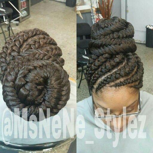 Ghana braids with a fish tail bun
