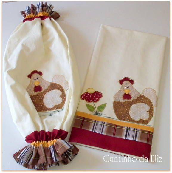 Composto por puxa saco em tecido com bordado, e pano de copa. Fazemos outros motivos e cores. R$ 72,50