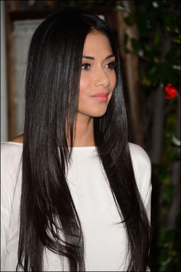 Straightened Long Layered Black Hair 18