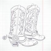 Cowboy_boots : Hand drawn sketch of a cowboy boots