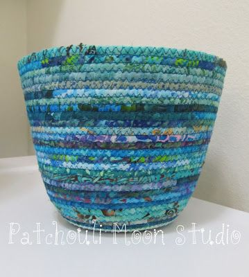 basket made with clothesline wrapped in fabric