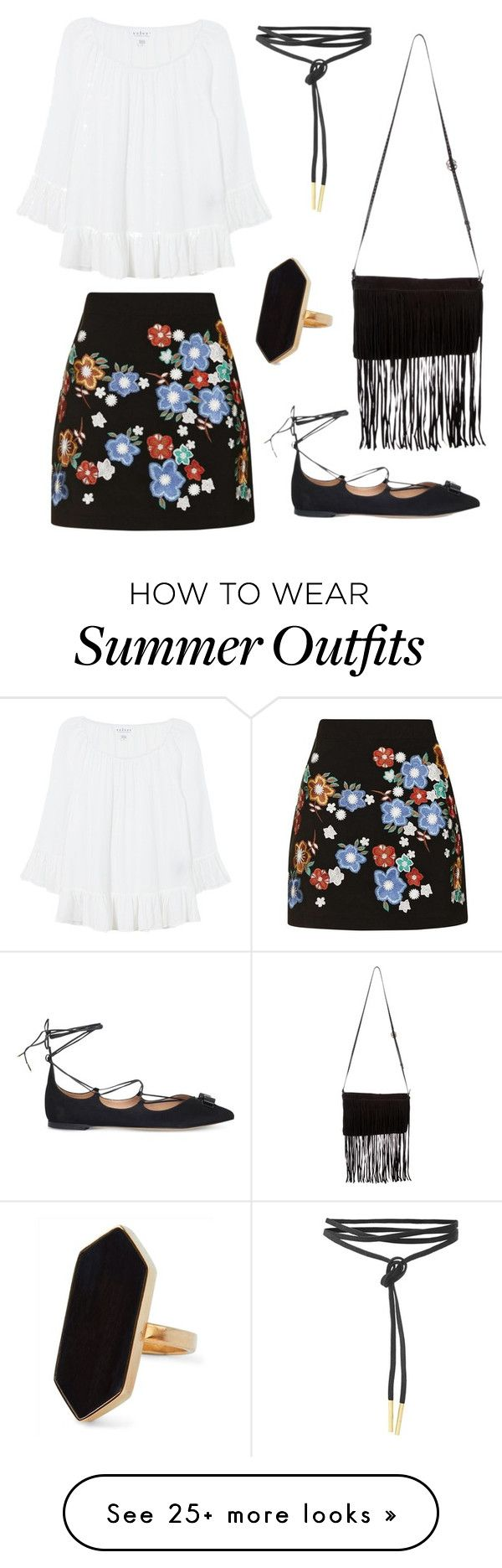 """Summer Date Outfit"" by roses-s on Polyvore featuring Topshop, Velvet, Salvatore Ferragamo, Michael Kors and Jaeger"
