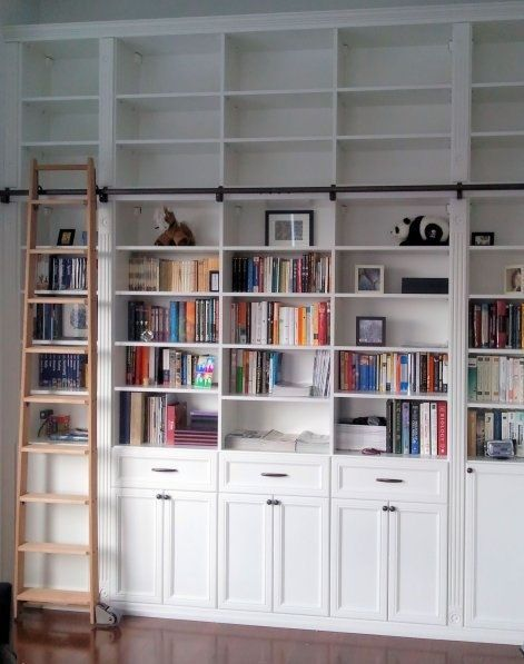 Library in White with Sliding Ladder  [ Specialtydoors.com ] #ladder #hardware #slidingdoor