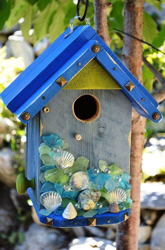Birdhouse Handmade Beach Glass Shell Pearls Seaside*****Follow our unique garden themed boards at www.pinterest.com/earthwormtec*****Follow us on www.facebook.com/earthwormtec for great organic gardening tips
