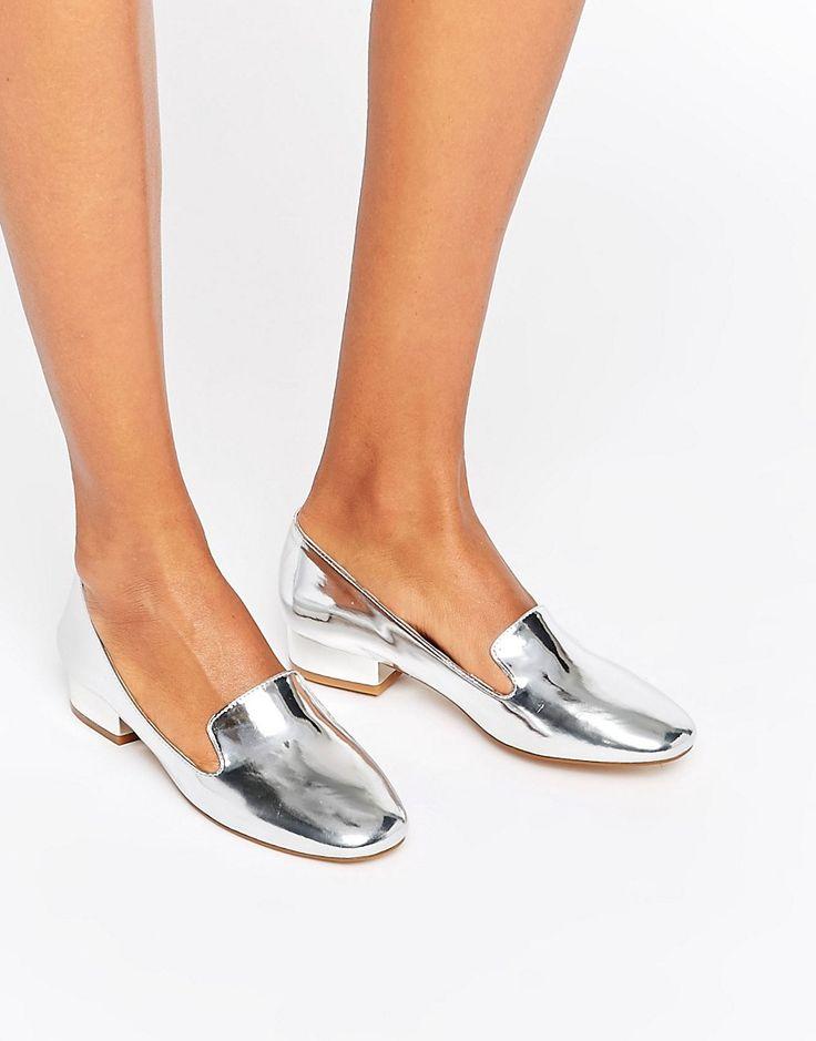 Image 1 ofGlamorous Silver Metallic Slipper Shoes
