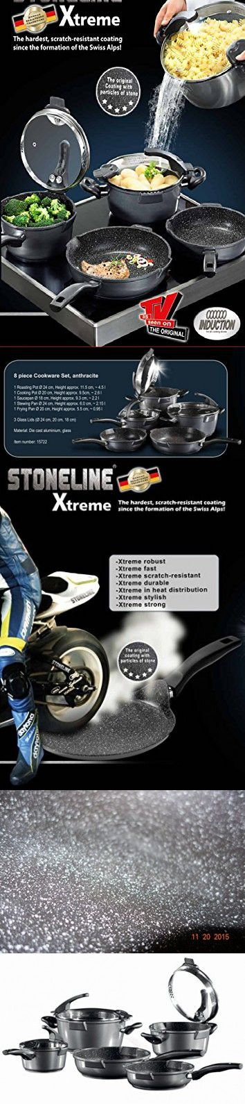 Germany's Stoneline Xtreme Series 8 Pieces Set Non-stick Non-Toxic Stone Coating Cookware - 2016 Top of the line model, better taste food