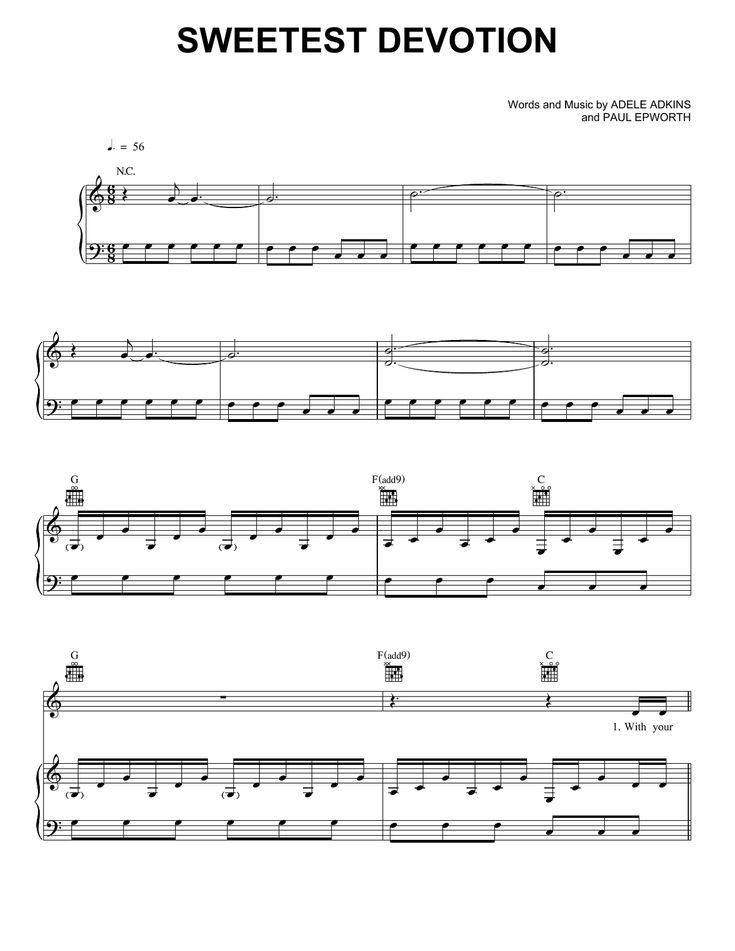 Sheet Music Adele Someone Like You For By Complete