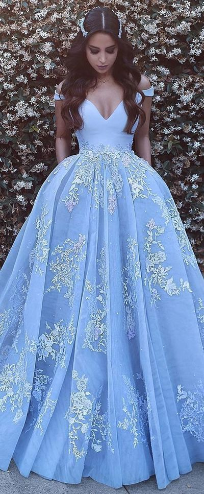 New Arrival Prom Dress,2018 Light Blue Cap Sleeves With Lace Prom Dresses Long Sexy Off The shoulder Prom Gown P0945