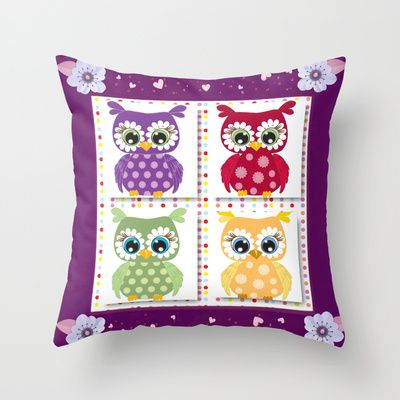 Owls Throw Pillow Owl, Throw pillows and Products