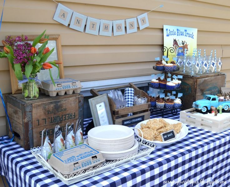 Favourite-storybook-turned-party-theme. A's 'Little Blue Truck' birthday party. Love.