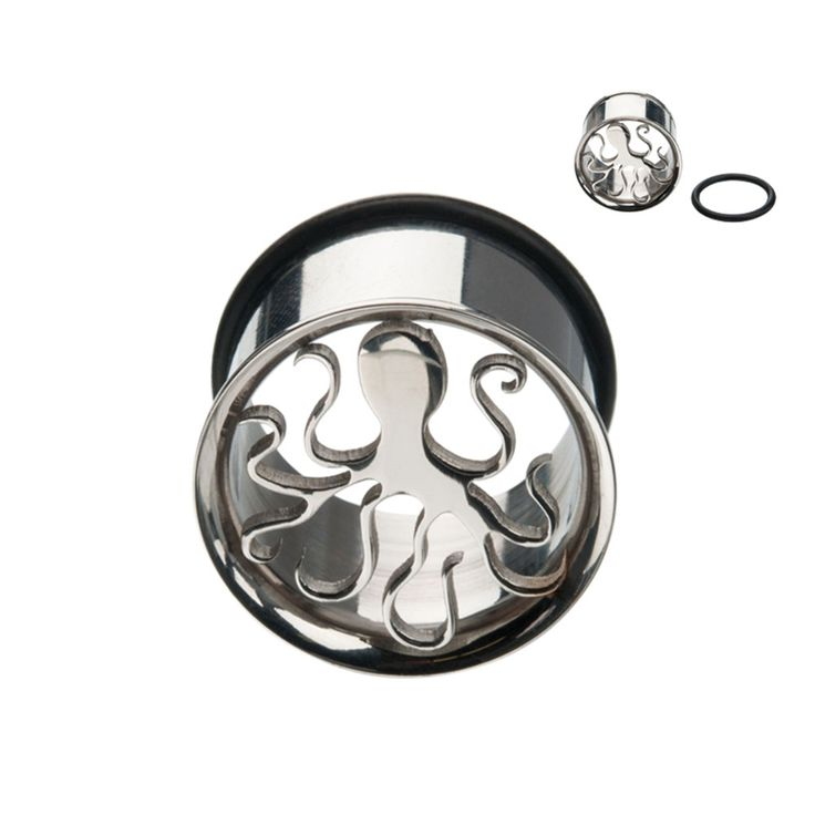steel plug piercing with cut out octopus - Per piece €6.99