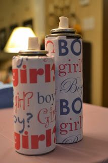 Gender Reveal party - silly string...Too cute! This would be a ton of fun!
