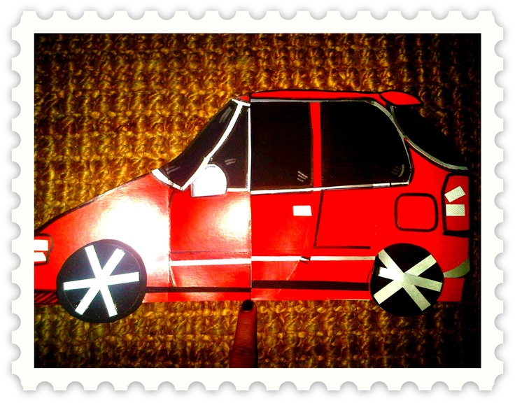 tarjeta de cumple para hombre en forma de carro y con interior bocinas