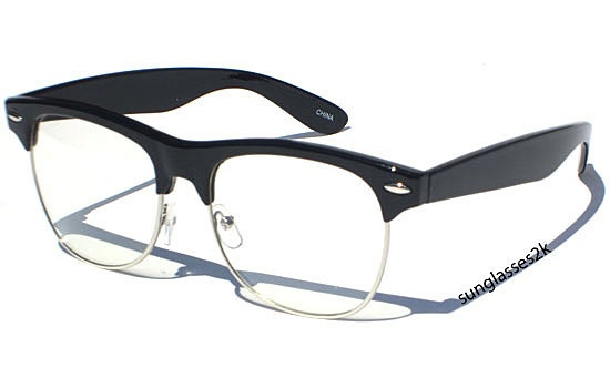 Black Frame Accessory Glasses : Hipster Glasses - Clubmaster Black Frame, Clear Lens ...