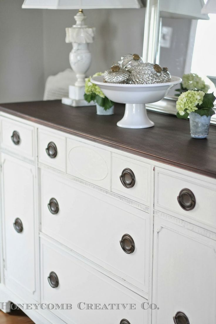 Antique buffet painted in Miss Mustard Seed's Milk Paint in Ironstone
