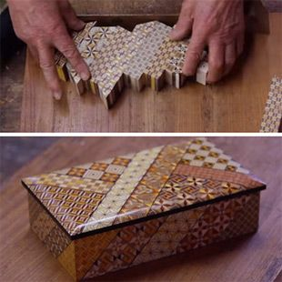 The Fine Art of Japanese Parquetry Using Razor-Thin Slices of Wood Mosaics