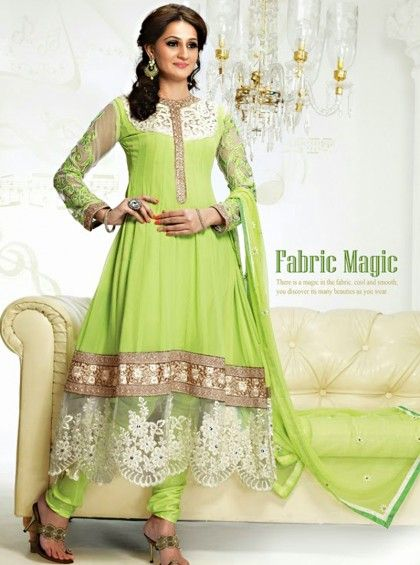 Shop Here.. http://www.silkmuseumsurat.in/salwar_kameez/neon-green-color-faux-georgette-fabric-anarkali-suit Item #: 3913 Neon Green Color Faux Georgette Fabric Anarkali Suit Color : Green Fabric : Faux Georgette Occasion : Bridal, Casual, Festival, Party, Reception, Wedding Style : Anarkali Dress Work : Embroidered, Patch Border