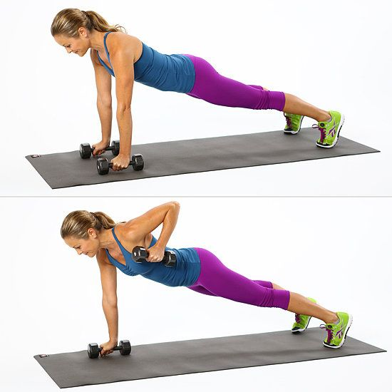 Try this exercise first without dumbbells, and focus on your torso staying level as you alternate your arms in the reverse row. Then choose appropriate weight for your strength level, between five and 10 pounds. #plank #fitness #workout #exercise