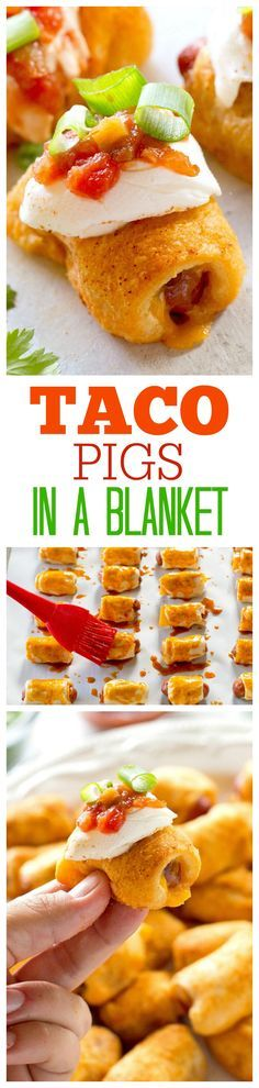 Taco Pigs in a Blanket - a Mexican twist on the classic appetizer. Make a toppings bar so everyone can top their own. the-girl-who-ate-...