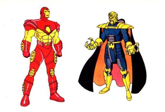 Rare 1994 Avengers Iron Man Marvel Comics animation series cartoon promotional cel: 1990's Ironman vs the Mandarin animated comic book superhero promo cell